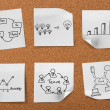 Stock Photo: Cork board with drawing business concept notes