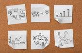 Cork board with drawing business concept notes — Stock Photo
