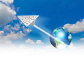 Graph paper planes in blue sky with earth (Elements of this imag — Stock Photo