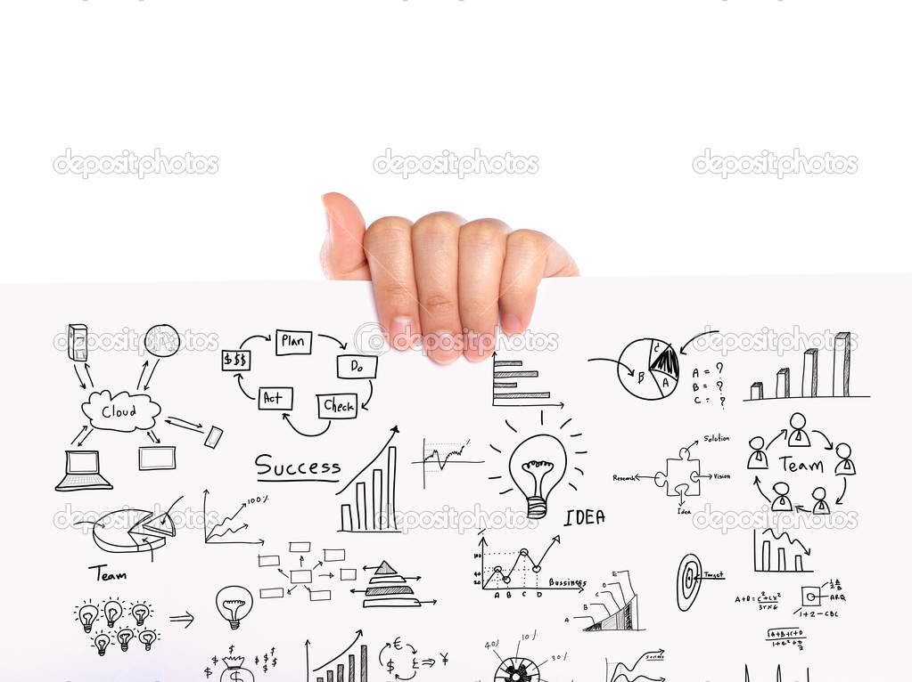 Hand hold Business concept and graph drawing on white paper ...
