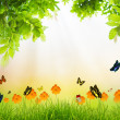Fresh spring green grass with green leaf and butterfly , Summer  — Foto de Stock