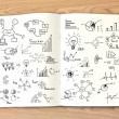 Business concept and graph drawing on book — Lizenzfreies Foto
