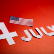 True paper cut of American Independence Day 4th July with Flag — Foto de Stock