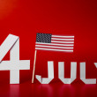 True paper cut of American Independence Day 4th July with Flag — Stock Photo