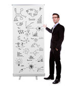 Business man showing roll up banner display with graph isolated — Stock Photo