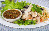 Fresh steam fish with seafood sauce — Stock Photo