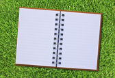 Notebook on fresh spring green grass. — Stock Photo