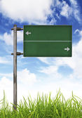 Green Traffic sign on green grass and blue sky. — Stock Photo