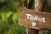 A wooden sign hung over the entrance to a toilet — Stock Photo