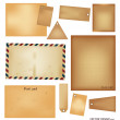 Vector set: Vintage postcard, envelope, stamp, card and blank pa — Stock Vector