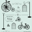 Vector set of vintage design elements, can be used for wall stic — Imagens vectoriais em stock