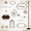 Stok Vektör: Vector set of vintage design elements, cbe used for wall stic