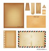 векторный набор: винтажные открытки, конверт, штамп, карты и пустой па — Cтоковый вектор
