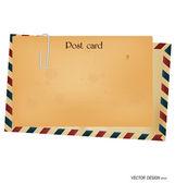 Vintage postcard and envelope. — Stock Vector