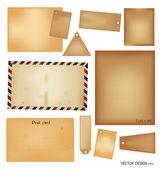 Wektor zestaw: archiwalne pocztówki, koperty, pieczęć, karty i puste pa — Wektor stockowy