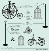 Vector set of vintage design elements, can be used for wall stic — Stok Vektör