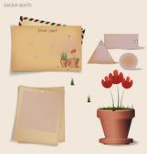 винтаж открытка и конверт с завод красный цветок в глиняном горшочке. — Cтоковый вектор