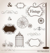 Vector set of vintage design elements, can be used for wall stic — Vector de stock