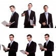 Collection of young business man with laptop and touch screen de — Stock Photo