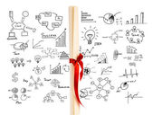 Diploma tied with red ribbon on drawing graph background. — Stok fotoğraf