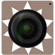 Camera lens shutter, Camera icon. Vector illustration. — Imagens vectoriais em stock