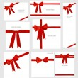Set of Shiny red ribbons and beautiful gifts. Vector illustratio — Stock Vector