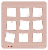 Collection of various white note papers, ready for your message. — Stock Vector