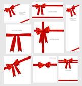 σύνολο κόκκινες κορδέλες για λαμπερά και όμορφα δώρα. διάνυσμα illustratio — Διανυσματικό Αρχείο