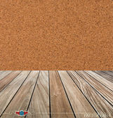 Cork board and wood floor. Vector illustration — Stock Vector