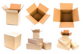 Cardboard boxes isolated on white background — Stock Photo