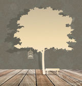 Arka plan ağaç altında vintage kuş kafesi ile. hasta vektör — Stok Vektör