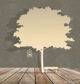 Sfondo astratto con gabbia d'epoca sotto l'albero. vettore malato — Vettoriale Stock