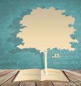 Albero astratto con libro e albero. illustrazione vettoriale. — Vettoriale Stock