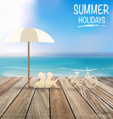 Summer holiday background with wood terrace. Vector illustration — Stock Vector