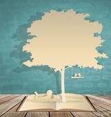 Abstrakt bakgrund med barnen läsa en bok under träd. vektor — Stockvektor