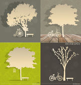 Set of Abstract tree background. Vector Illustration. — Stock Vector