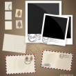 Vintage postcard designs, envelope and postage stamps. Vector EP — Stok Vektör