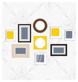 Picture frames, photo art gallery on vintage wall. Vector EPS10 — Stock Vector