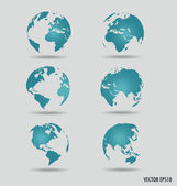 Set of modern globes. Vector Illustration. — Stockvector