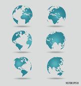 Uppsättning av moderna glober. vektor illustration. — Stockvektor