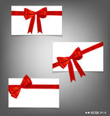 Card with red ribbons bows. Vector illustration. — Stock Vector