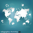 World map. Vector Illustration. — Stock Vector