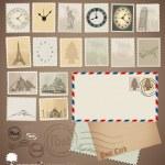 Vector set: Vintage stamp designs, envelope and postcard. — Stock Vector