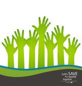 Raised hands. Vector illustration. — Stock Vector