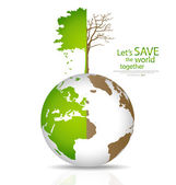 Save the world, Tree on a deforested globe and green globe. Vect — Stock Vector
