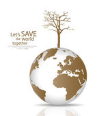 Save the world, Dry tree on a deforested globe. Vector illustrat — Stock Vector