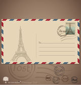 Vintage envelope designs with postage stamp. Vector illustration — Stock Vector