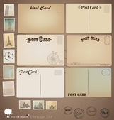 Vector set: Vintage postcard designs and stamps. — Stock Vector
