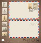 φάκελος vintage σχέδια και γραμματόσημα. εικονογράφηση φορέας. — Διανυσματικό Αρχείο