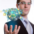 Social Network concept :young business man holding earth of soci — Stock Photo #30516717